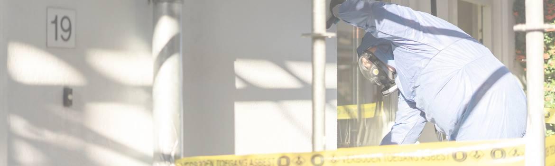 Afzettingslint bij asbest gevaar, geen toegang